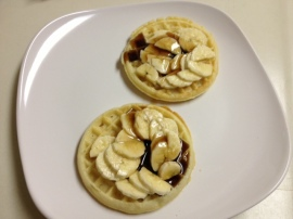 waffles with bananas and syrup